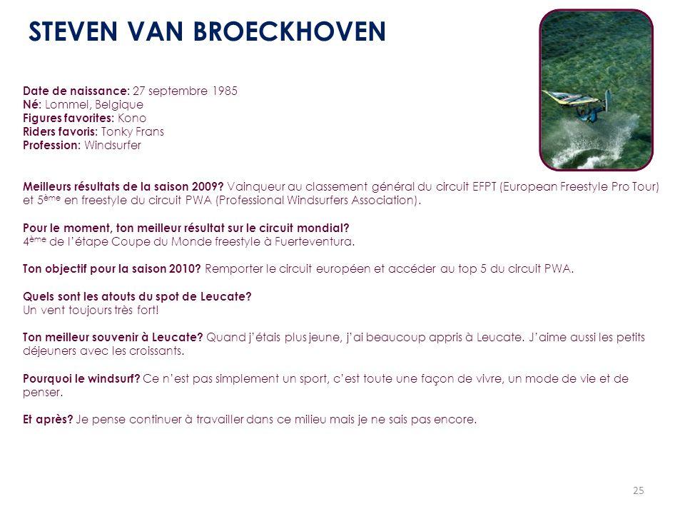 25 Date de naissance: 27 septembre 1985 Né: Lommel, Belgique Figures favorites: Kono Riders favoris: Tonky Frans Profession: Windsurfer Meilleurs résu