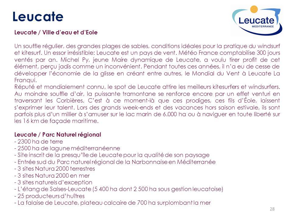 28 Leucate Leucate / Ville deau et dEole Un souffle régulier, des grandes plages de sables, conditions idéales pour la pratique du windsurf et kitesur