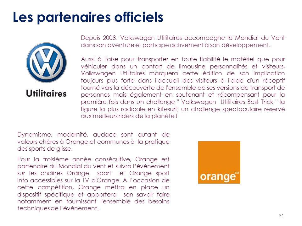 31 Les partenaires officiels Depuis 2008, Volkswagen Utilitaires accompagne le Mondial du Vent dans son aventure et participe activement à son dévelop