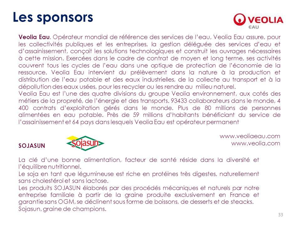 33 Les sponsors Veolia Eau, Opérateur mondial de référence des services de leau, Veolia Eau assure, pour les collectivités publiques et les entreprise