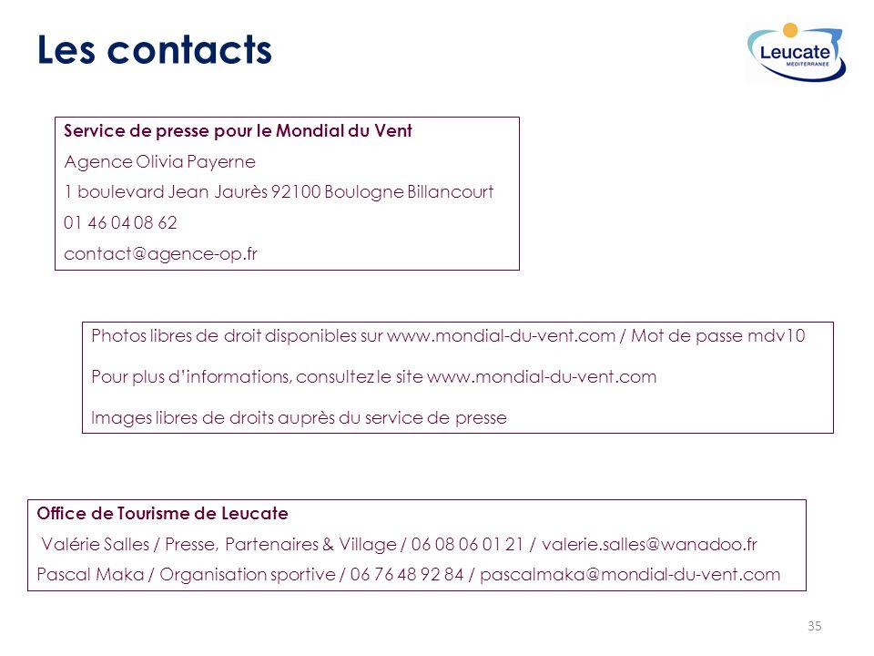 35 Les contacts Service de presse pour le Mondial du Vent Agence Olivia Payerne 1 boulevard Jean Jaurès 92100 Boulogne Billancourt 01 46 04 08 62 cont