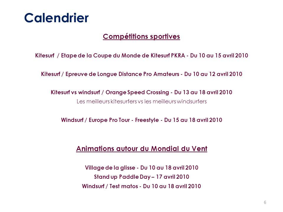 6 Calendrier Compétitions sportives Kitesurf / Etape de la Coupe du Monde de Kitesurf PKRA - Du 10 au 15 avril 2010 Kitesurf / Epreuve de Longue Dista