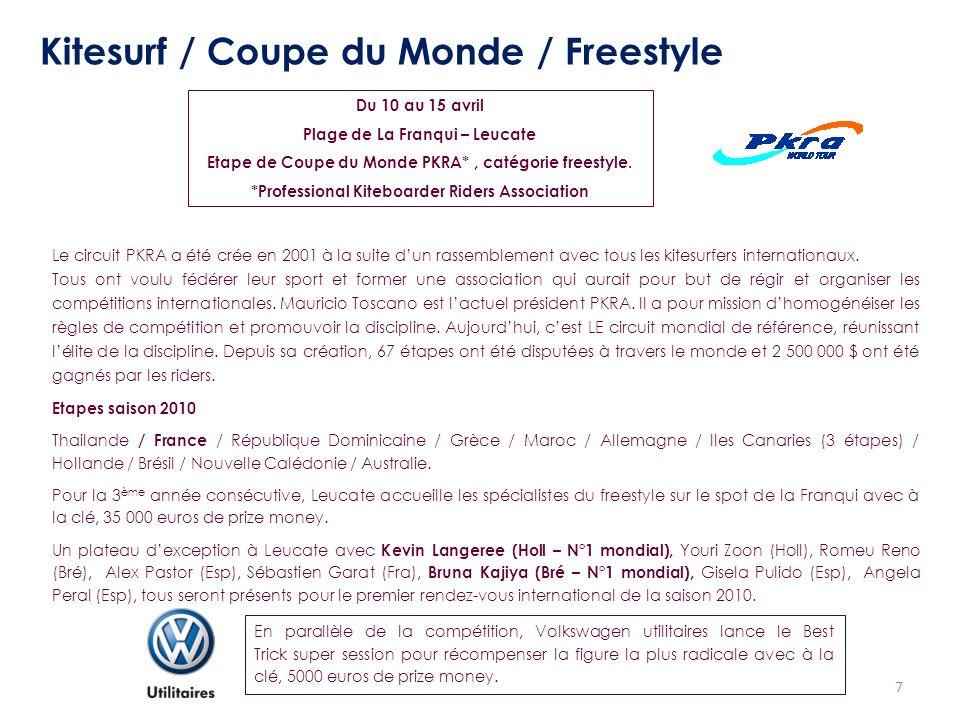 7 Kitesurf / Coupe du Monde / Freestyle Du 10 au 15 avril Plage de La Franqui – Leucate Etape de Coupe du Monde PKRA*, catégorie freestyle. *Professio