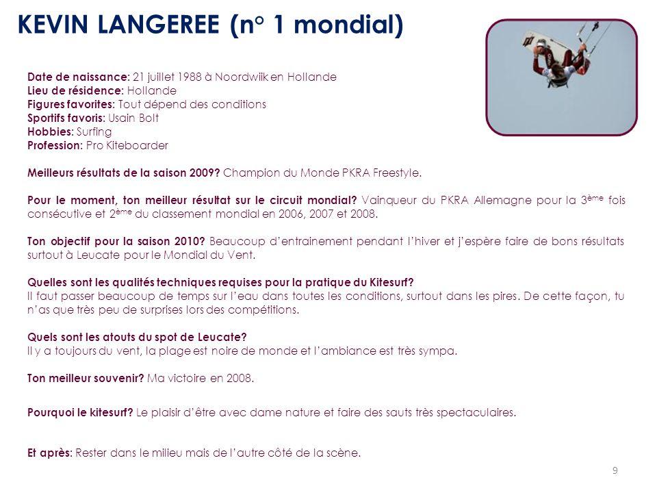 9 KEVIN LANGEREE (n° 1 mondial) Date de naissance: 21 juillet 1988 à Noordwiik en Hollande Lieu de résidence: Hollande Figures favorites: Tout dépend