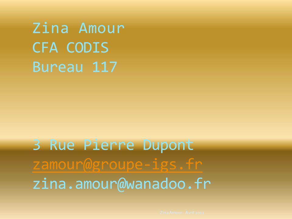 Zina Amour CFA CODIS Bureau 117 3 Rue Pierre Dupont zamour@groupe-igs.fr zina.amour@wanadoo.fr zamour@groupe-igs.fr Zina Amour- Avril 2012