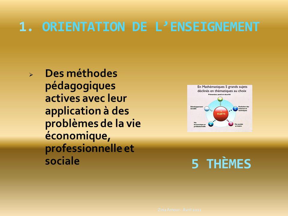 1.ORIENTATION DE LENSEIGNEMENT Des méthodes pédagogiques actives avec leur application à des problèmes de la vie économique, professionnelle et social