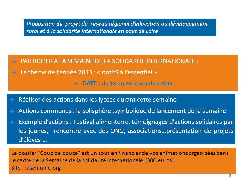 Proposition de projet du réseau régional déducation au développement rural et à la solidarité internationale en pays de Loire PARTICIPER A LA SEMAINE DE LA SOLIDARITE INTERNATIONALE : Le thème de lannée 2013 : « droitS à lessentiel » DATE : du 18 au 26 novembre 2013 2 Réaliser des actions dans les lycées durant cette semaine Actions communes : la solisphère,symbolique de lancement de la semaine Exemple dactions : Festival alimenterre, témoignages dactions solidaires par les jeunes, rencontre avec des ONG, associations…présentation de projets délèves … Le dossier Coup de pouce est un soutien financier de vos animations organisées dans le cadre de la Semaine de la solidarité internationale.
