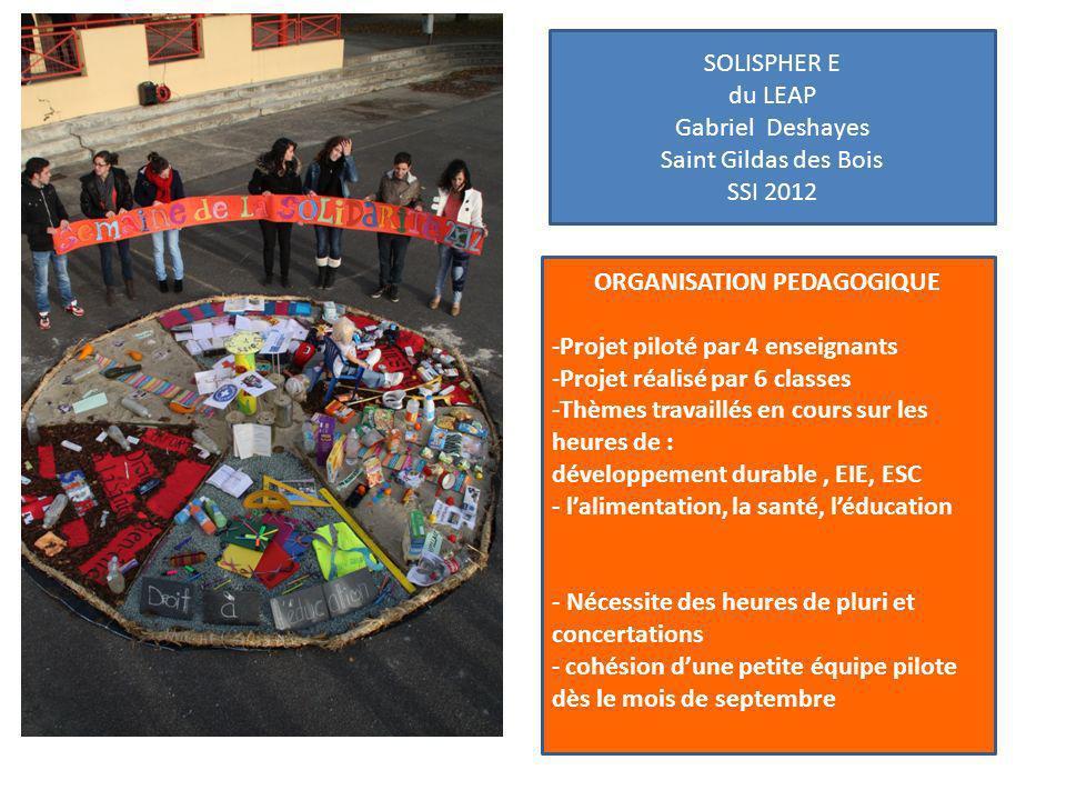 SOLISPHER E du LEAP Gabriel Deshayes Saint Gildas des Bois SSI 2012 ORGANISATION PEDAGOGIQUE -Projet piloté par 4 enseignants -Projet réalisé par 6 cl