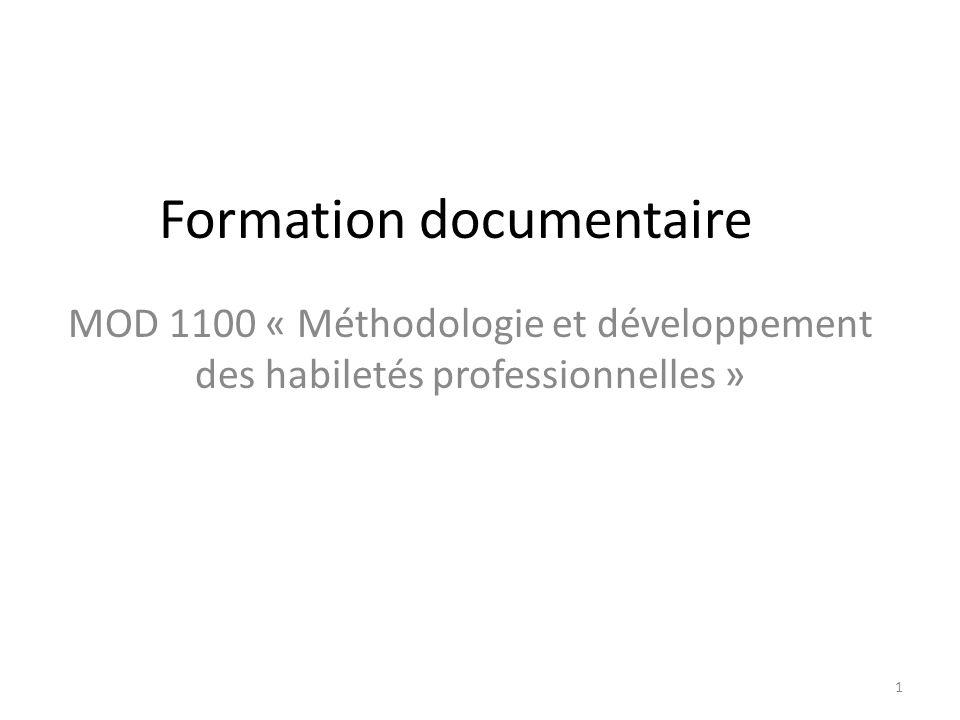 Formation documentaire MOD 1100 « Méthodologie et développement des habiletés professionnelles » 1