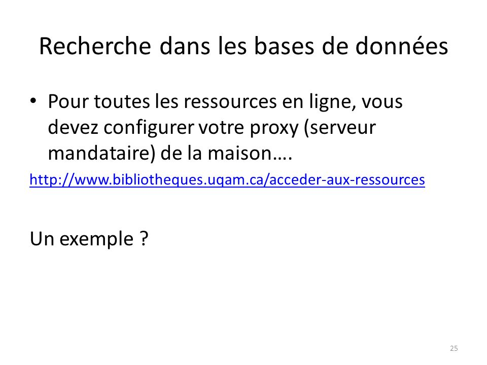 Recherche dans les bases de données Pour toutes les ressources en ligne, vous devez configurer votre proxy (serveur mandataire) de la maison…. http://