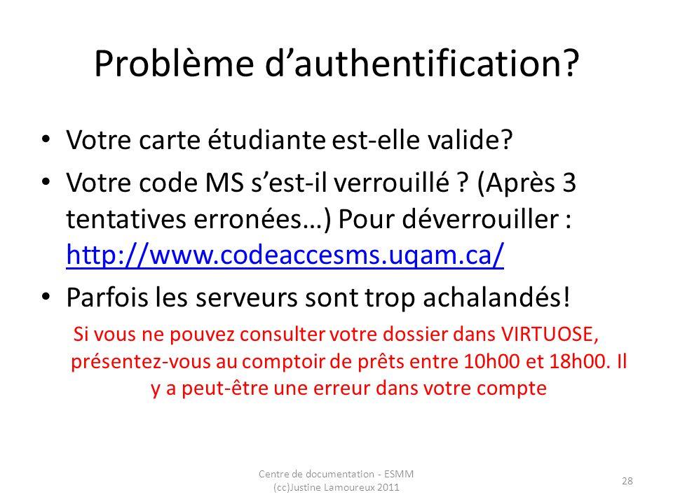 Problème dauthentification? Votre carte étudiante est-elle valide? Votre code MS sest-il verrouillé ? (Après 3 tentatives erronées…) Pour déverrouille