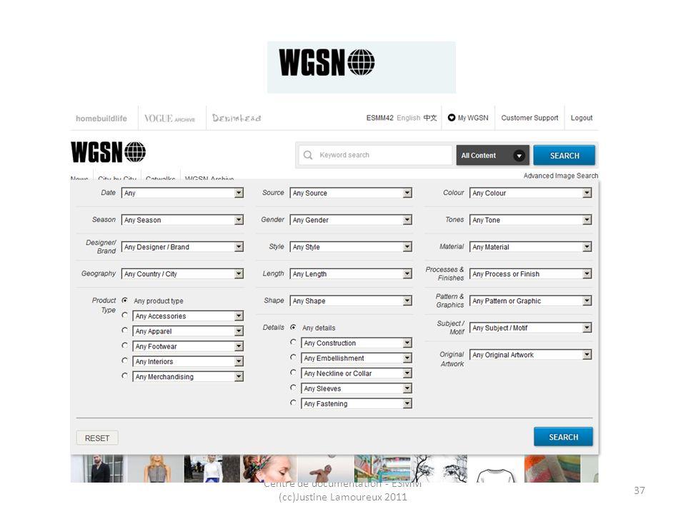WGSN Centre de documentation - ESMM (cc)Justine Lamoureux 2011 37