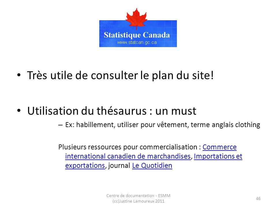 StatCan Très utile de consulter le plan du site! Utilisation du thésaurus : un must – Ex: habillement, utiliser pour vêtement, terme anglais clothing