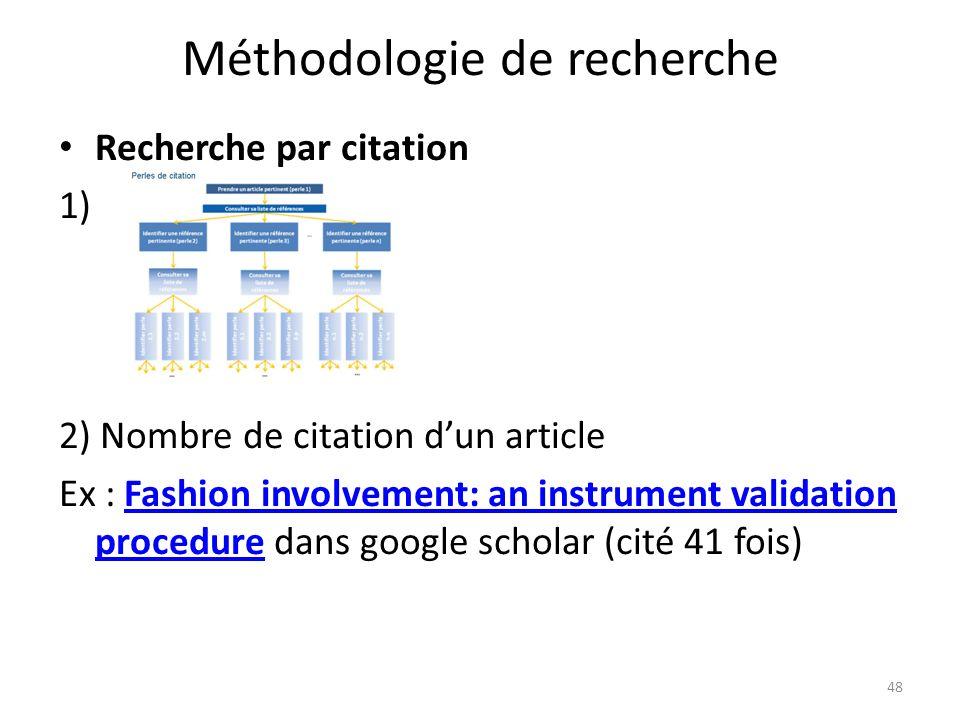 Méthodologie de recherche Recherche par citation 1) 2) Nombre de citation dun article Ex : Fashion involvement: an instrument validation procedure dan