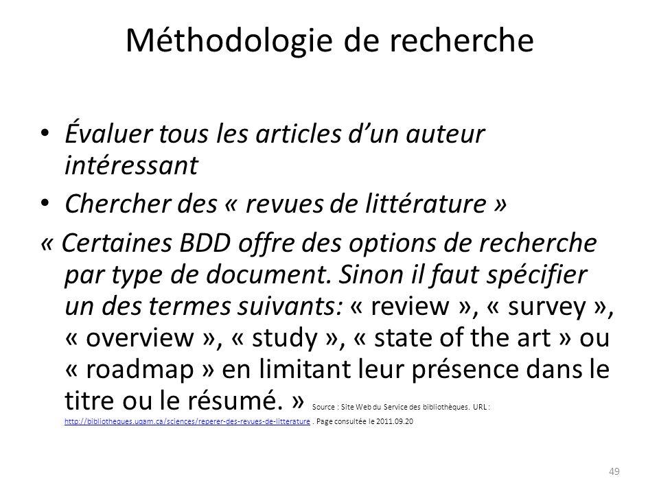 Méthodologie de recherche Évaluer tous les articles dun auteur intéressant Chercher des « revues de littérature » « Certaines BDD offre des options de