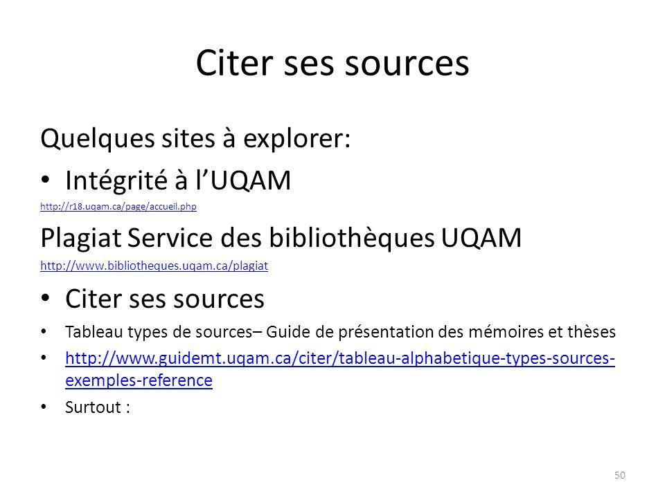 Citer ses sources Quelques sites à explorer: Intégrité à lUQAM http://r18.uqam.ca/page/accueil.php Plagiat Service des bibliothèques UQAM http://www.b
