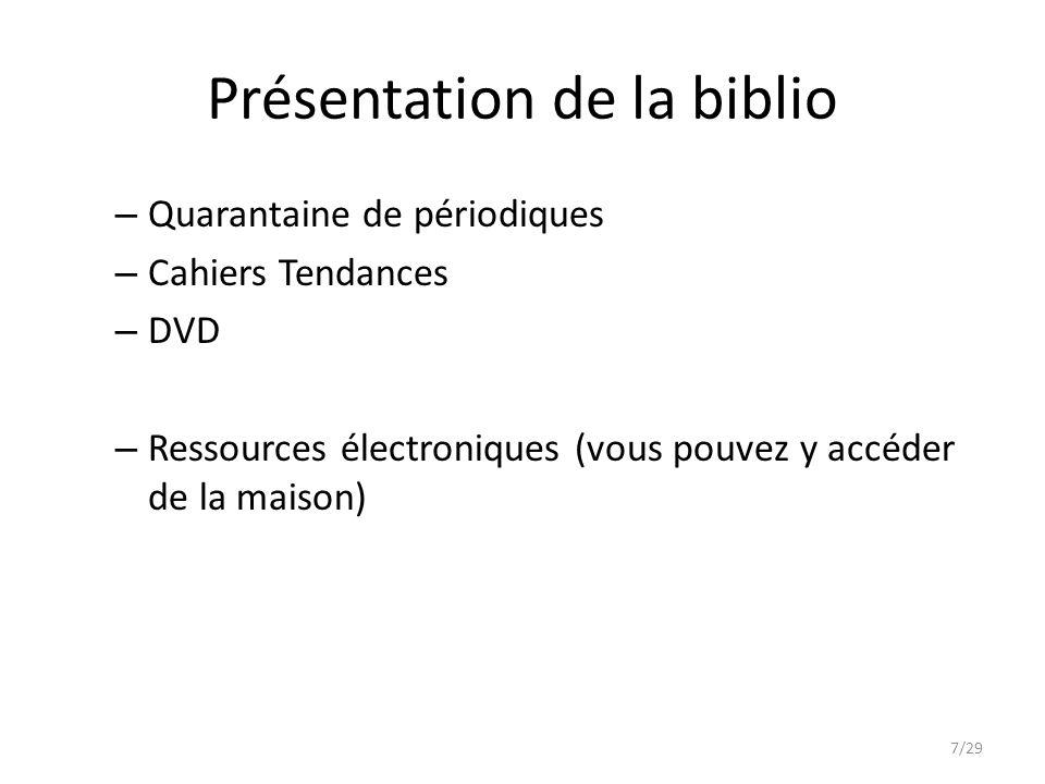Présentation de la biblio – Quarantaine de périodiques – Cahiers Tendances – DVD – Ressources électroniques (vous pouvez y accéder de la maison) 7/29