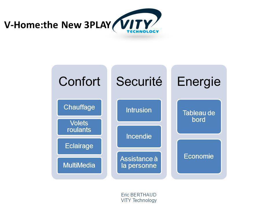 Eric BERTHAUD VITY Technology Confort Chauffage Volets roulants EclairageMultiMedia Securité IntrusionIncendie Assistance à la personne Energie Tableau de bord Economie V-Home:the New 3PLAY