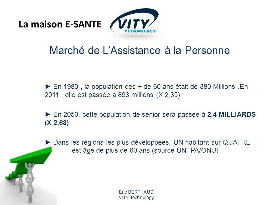 Eric BERTHAUD VITY Technology Marché de LAssistance à la Personne En 1980, la population des + de 60 ans était de 380 Millions.En 2011, elle est passée à 893 millions (X 2,35) En 2050, cette population de senior sera passée à 2,4 MILLIARDS (X 2,68) Dans les régions les plus développées, UN habitant sur QUATRE est âgé de plus de 60 ans (source UNFPA/ONU) La maison E-SANTE
