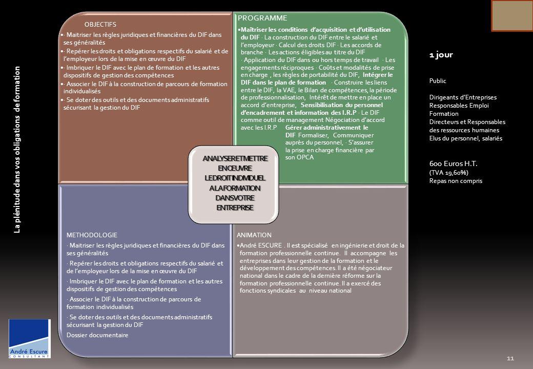 OBJECTIFS Permettre aux dirigeants et responsables dentreprises ou collaborateurs en charges de projets de maîtriser les outils pour piloter un projet, en gérer les différentes étapes, communiquer et manager de façon convaincante pour impliquer les différents acteurs du projet PROGRAMME Quest-ce quun projet –Finalité –Complexité Faisabilité - Organiser et planifier le projet - Lorganigramme des tâches - Créer léquipe projet - Gérer les relations avec les hiérarchiques de services - Former léquipe et la lancer - Piloter le projet et son évolution - Le travail en équipe - Les outils de pilotage - Les critères dévaluation - La communication de projet - La stratégie -Faciliter la circulation de linformation - Assurer les entretiens avec les acteurs du projet - Réunir pour informer METHODOLOGIE Travaux sur de multiples exemples permettant une mise en application immédiate Fourniture dun mémento pratique ANIMATION André ESCURE.