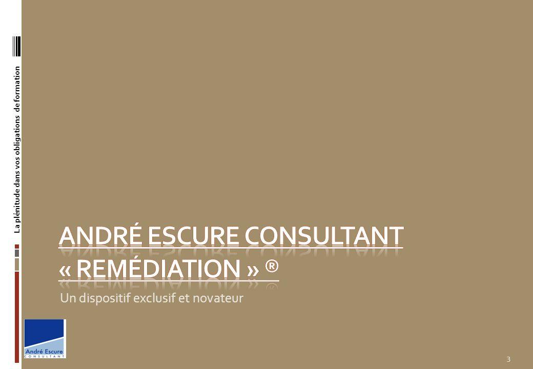 Le dispositif : André ESCURE Consultant « remédiation » ® Concept exclusif : La société André ESCURE CONSULTANT a mis en place dans le cadre de sa politique qualité norme AFNOR ISO 9001 : 2008 ® un concept novateur et exclusif dans le domaine de la formation professionnelle continue.