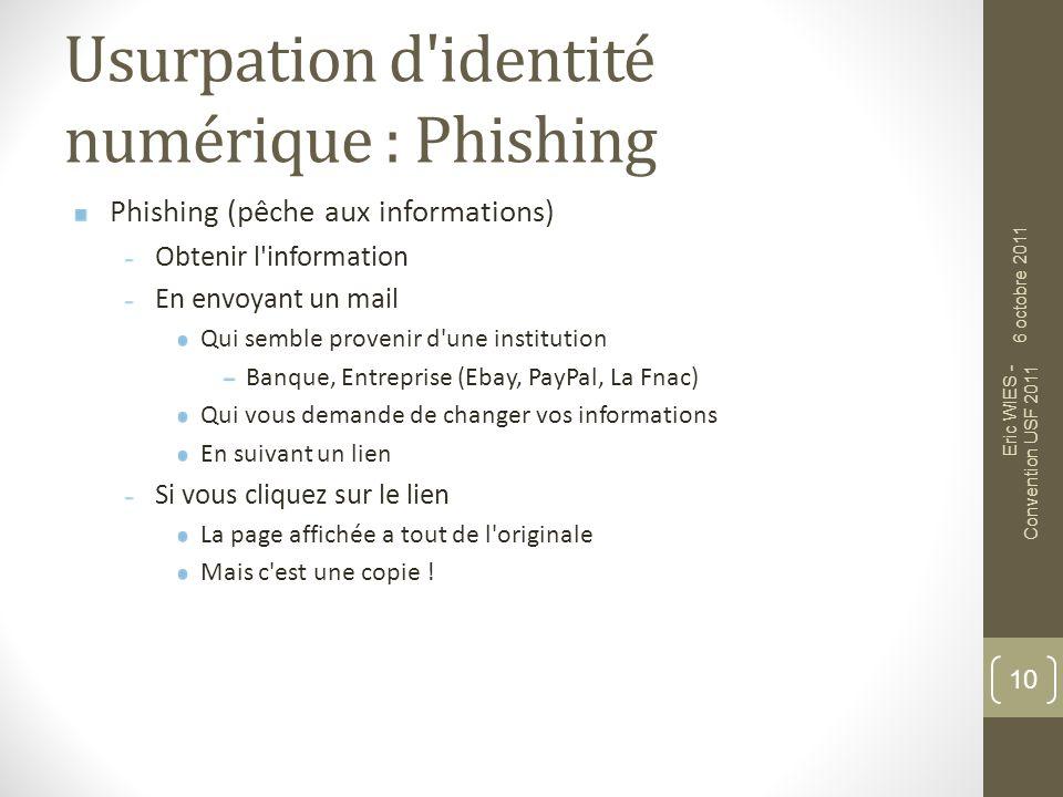 Usurpation d'identité numérique : Phishing Phishing (pêche aux informations) Obtenir l'information En envoyant un mail Qui semble provenir d'une insti