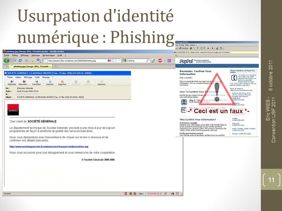 Usurpation d'identité numérique : Phishing 11 6 octobre 2011 Eric WIES - Convention USF 2011