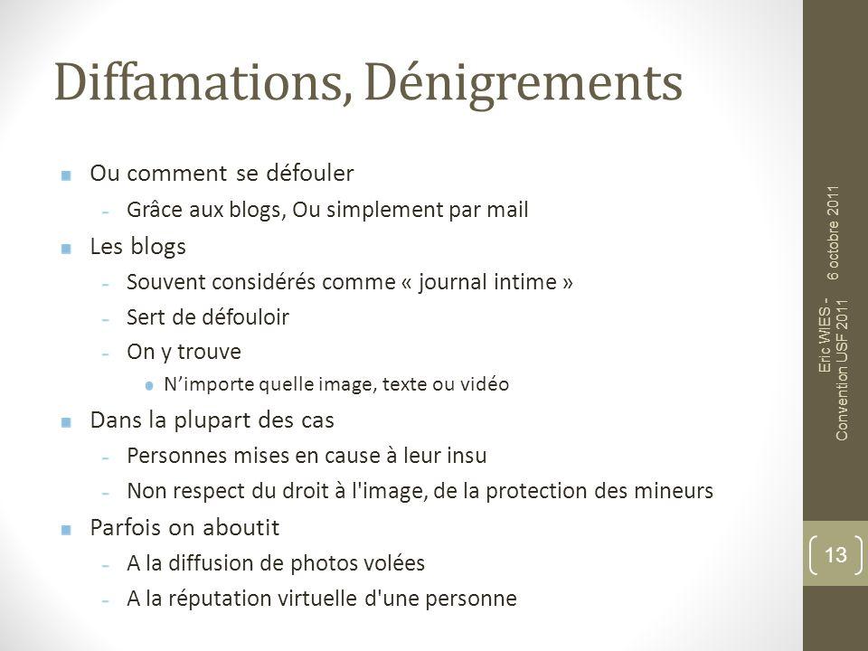 Diffamations, Dénigrements Ou comment se défouler Grâce aux blogs, Ou simplement par mail Les blogs Souvent considérés comme « journal intime » Sert d