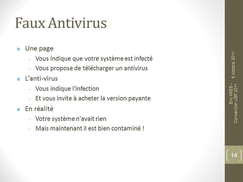 Faux Antivirus Une page Vous indique que votre système est infecté Vous propose de télécharger un antivirus L'anti-virus Vous indique l'infection Et v