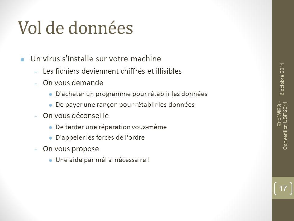 Vol de données Un virus s'installe sur votre machine Les fichiers deviennent chiffrés et illisibles On vous demande D'acheter un programme pour rétabl