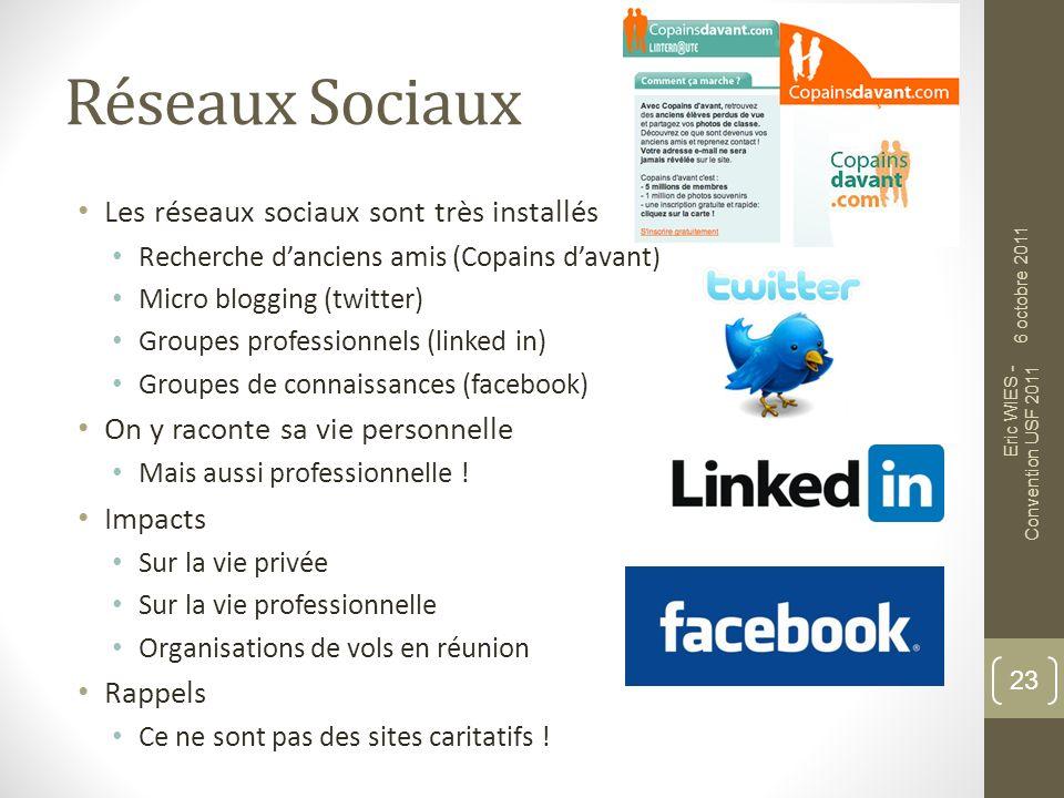 Réseaux Sociaux Les réseaux sociaux sont très installés Recherche danciens amis (Copains davant) Micro blogging (twitter) Groupes professionnels (link