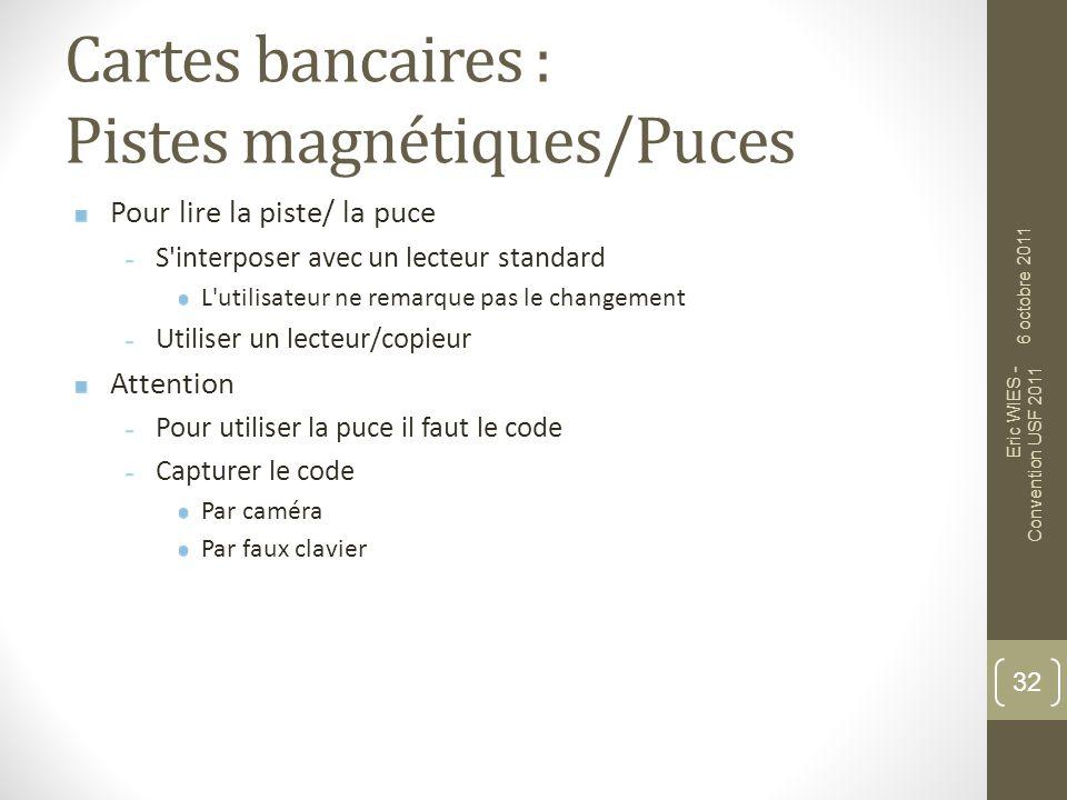 Cartes bancaires : Pistes magnétiques/Puces 33 6 octobre 2011 Eric WIES - Convention USF 2011