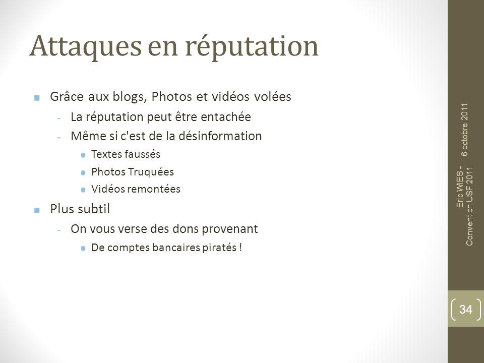Attaques en réputation Grâce aux blogs, Photos et vidéos volées La réputation peut être entachée Même si c'est de la désinformation Textes faussés Pho