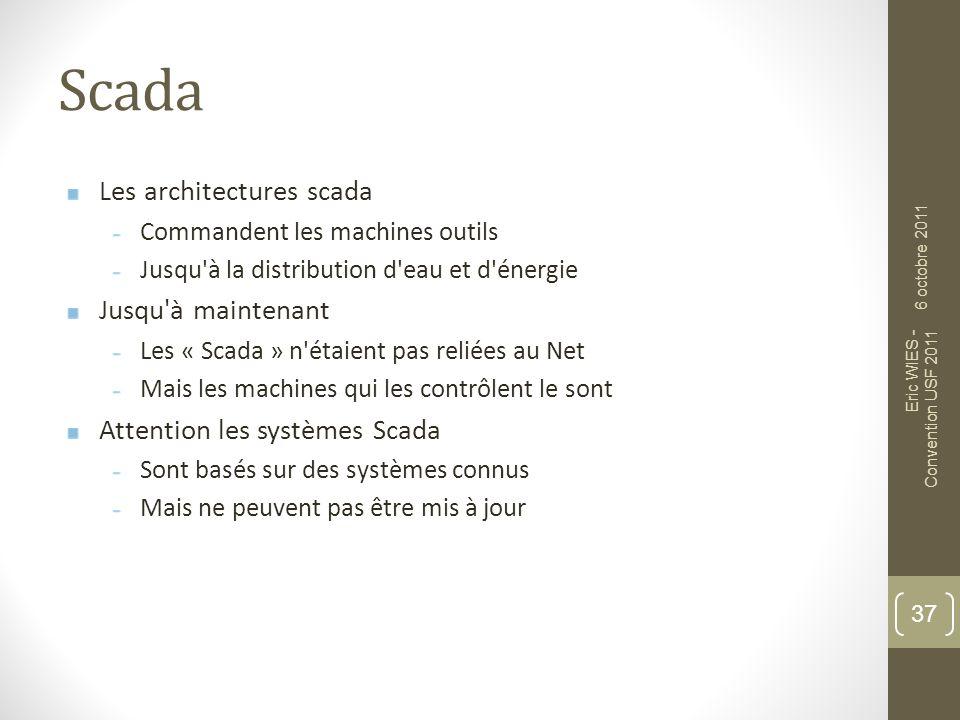 Scada Les architectures scada Commandent les machines outils Jusqu'à la distribution d'eau et d'énergie Jusqu'à maintenant Les « Scada » n'étaient pas