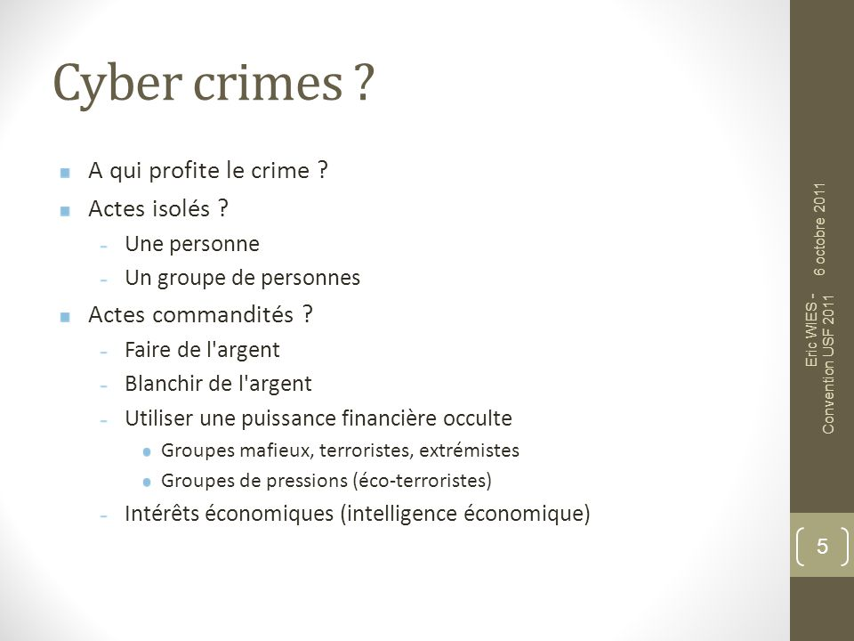 Cyber crimes .A qui profite le crime . Actes isolés .