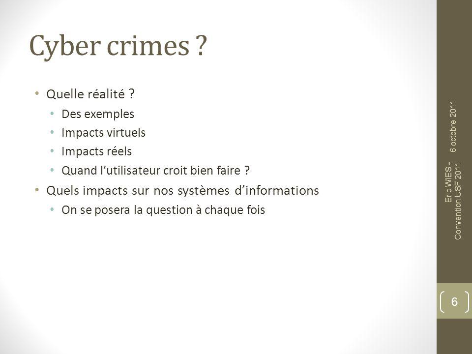 CYBER CRIMES : QUELQUES EXEMPLES Les nouvelles technologies comme but .