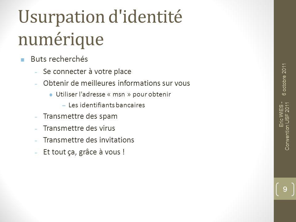Usurpation d'identité numérique Buts recherchés Se connecter à votre place Obtenir de meilleures informations sur vous Utiliser l'adresse « msn » pour