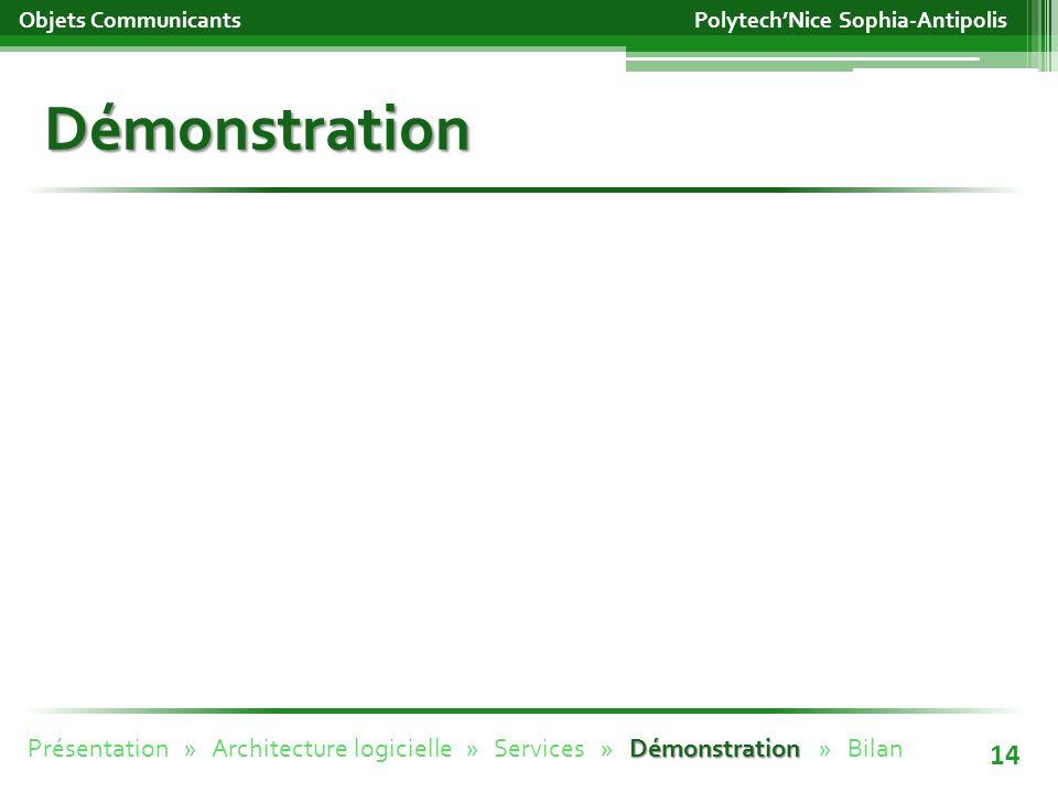 Démonstration Objets Communicants 14 PolytechNice Sophia-Antipolis Démonstration Présentation » Architecture logicielle » Services » Démonstration » Bilan