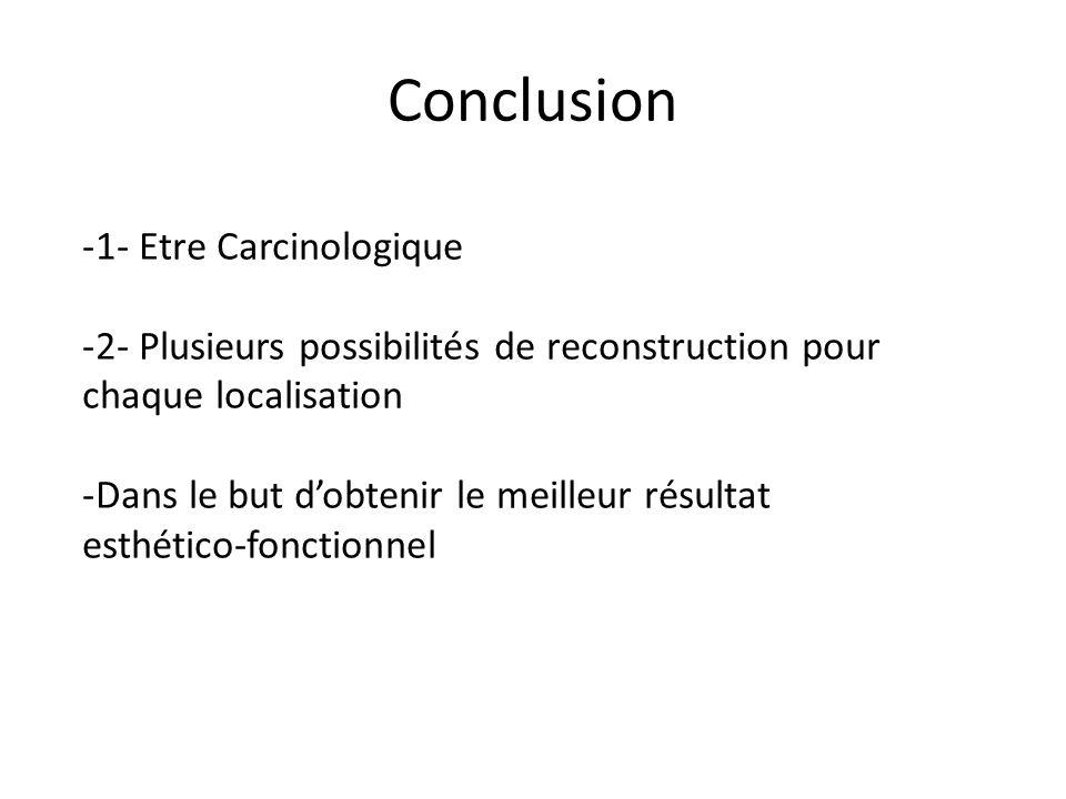 Conclusion -1- Etre Carcinologique -2- Plusieurs possibilités de reconstruction pour chaque localisation -Dans le but dobtenir le meilleur résultat esthético-fonctionnel