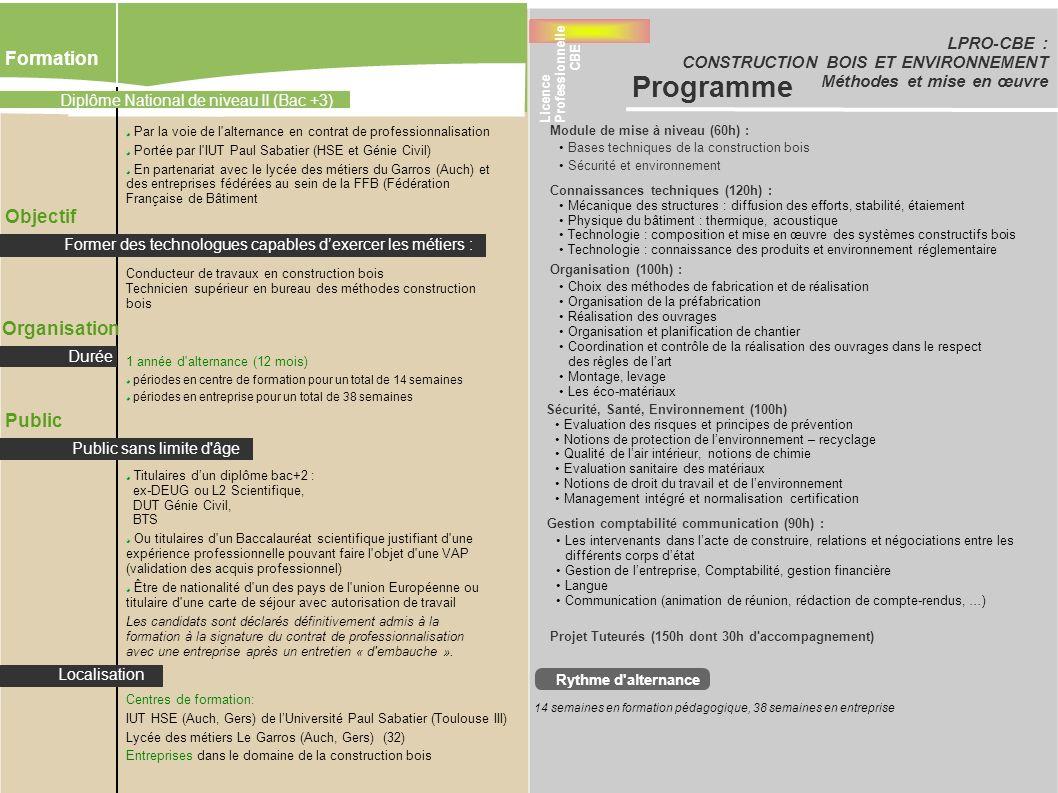 LPRO-CBE : CONSTRUCTION BOIS ET ENVIRONNEMENT Méthodes et mise en œuvre Formation Objectif Organisation Par la voie de l'alternance en contrat de prof