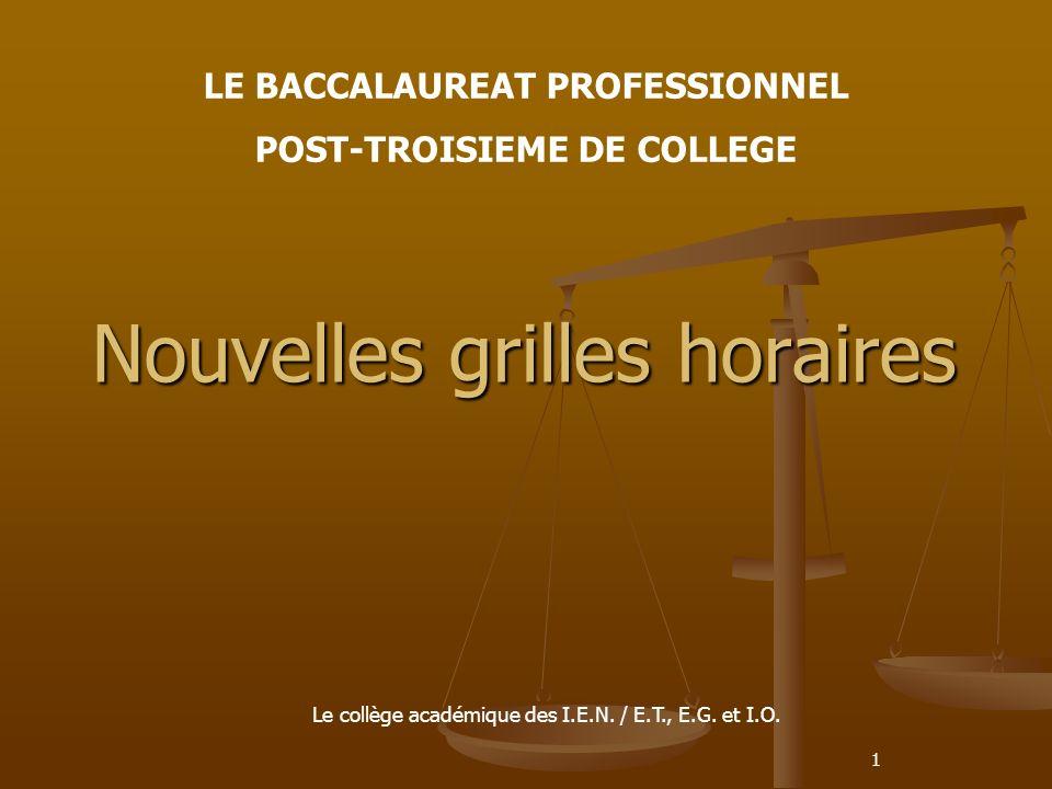 1 Nouvelles grilles horaires LE BACCALAUREAT PROFESSIONNEL POST-TROISIEME DE COLLEGE Le collège académique des I.E.N.