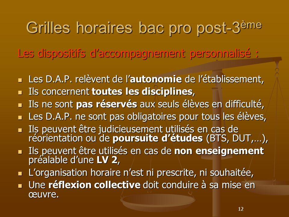 12 Grilles horaires bac pro post-3 ème Les dispositifs daccompagnement personnalisé : Les D.A.P.