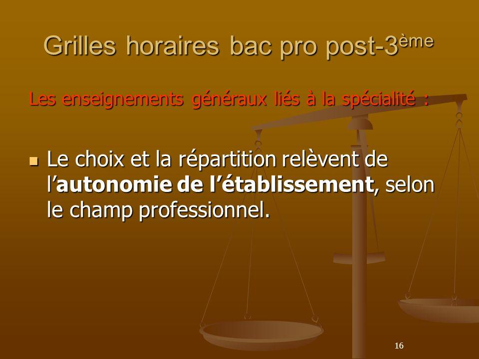 16 Grilles horaires bac pro post-3 ème Les enseignements généraux liés à la spécialité : Le choix et la répartition relèvent de lautonomie de létablissement, selon le champ professionnel.