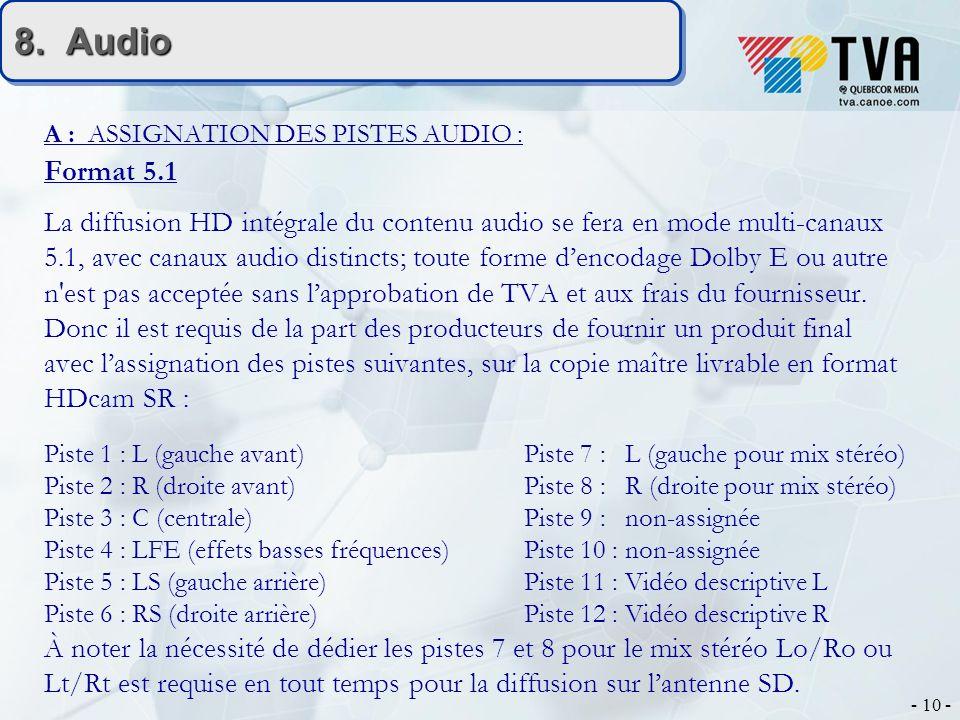 - 10 - 8. Audio A : ASSIGNATION DES PISTES AUDIO : Format 5.1 La diffusion HD intégrale du contenu audio se fera en mode multi-canaux 5.1, avec canaux