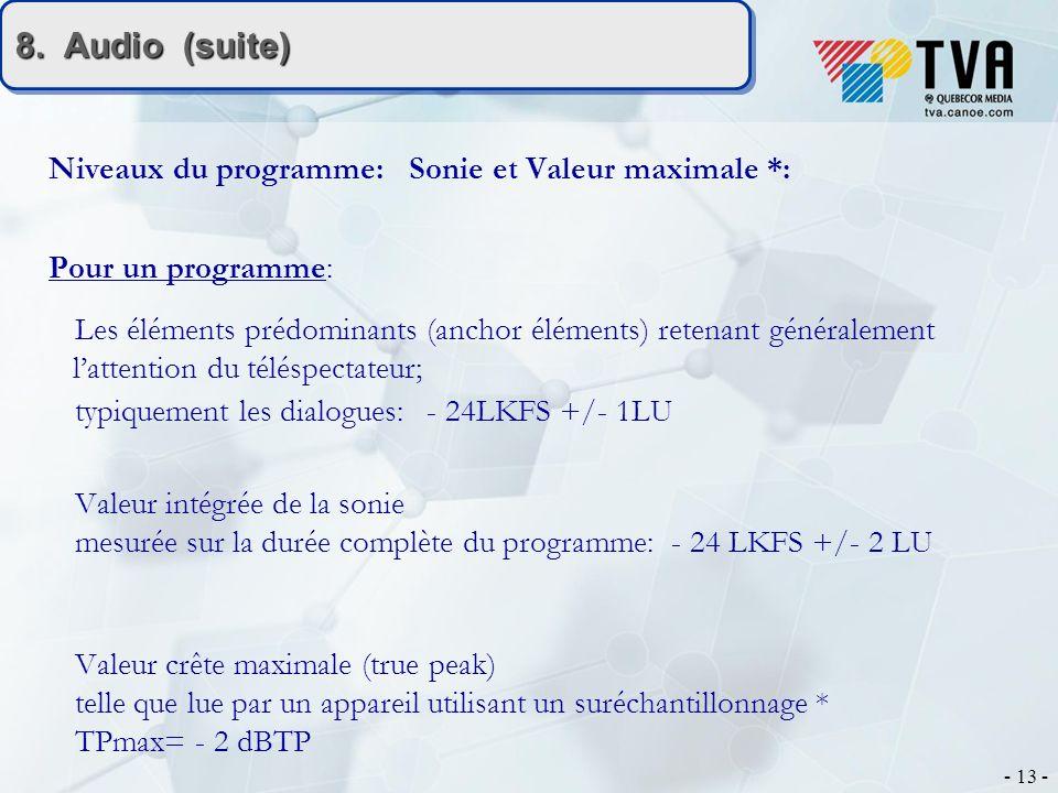 - 13 - 8. Audio (suite) Niveaux du programme: Sonie et Valeur maximale *: Pour un programme: Les éléments prédominants (anchor éléments) retenant géné