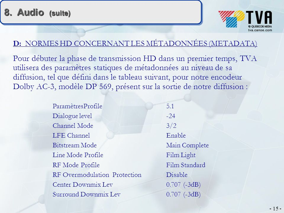 - 15 - 8. Audio (suite) D: NORMES HD CONCERNANT LES MÉTADONNÉES (METADATA) Pour débuter la phase de transmission HD dans un premier temps, TVA utilise