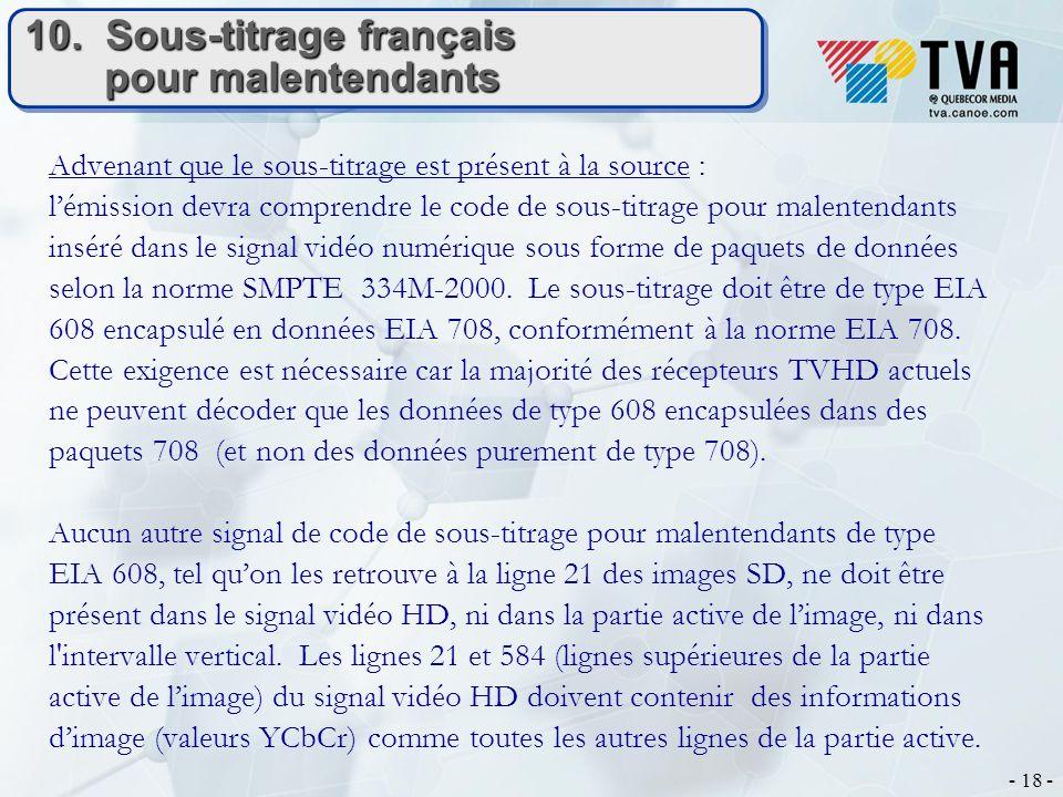 - 18 - 10. Sous-titrage français pour malentendants Advenant que le sous-titrage est présent à la source : lémission devra comprendre le code de sous-