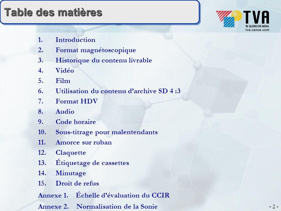 - 2 - Table des matières Table des matières 1.Introduction 2.Format magnétoscopique 3.Historique du contenu livrable 4.Vidéo 5.
