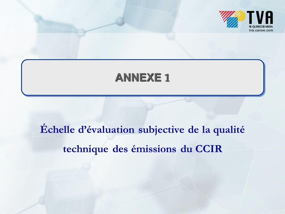 ANNEXE 1 Échelle dévaluation subjective de la qualité technique des émissions du CCIR