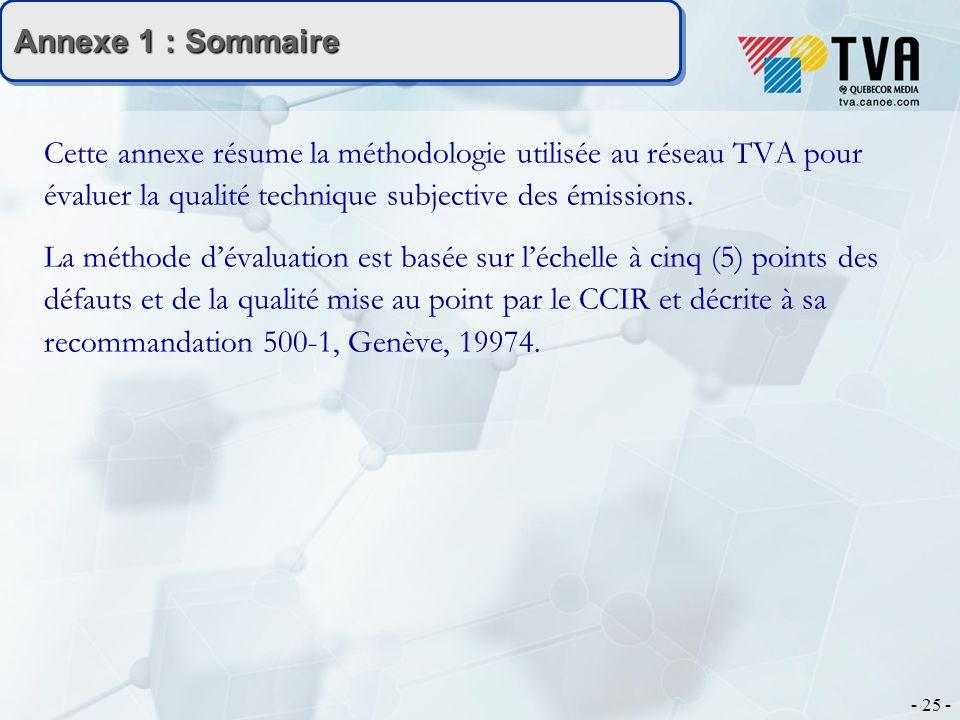 - 25 - Annexe 1 : Sommaire Cette annexe résume la méthodologie utilisée au réseau TVA pour évaluer la qualité technique subjective des émissions.